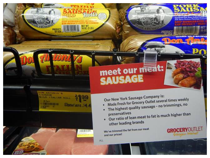 Sausage on display at Grocery Outlet