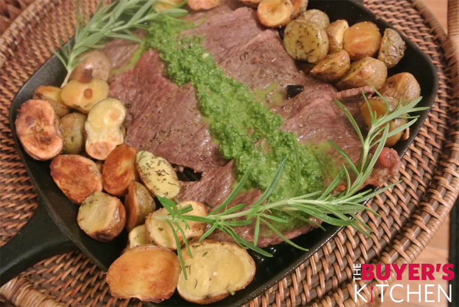 Thin Cut Steaks with Chimichurri Sauce & Roasted Rosemary Potatoes ...