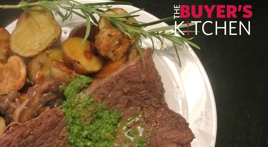 Plated Steak and Chimichurri