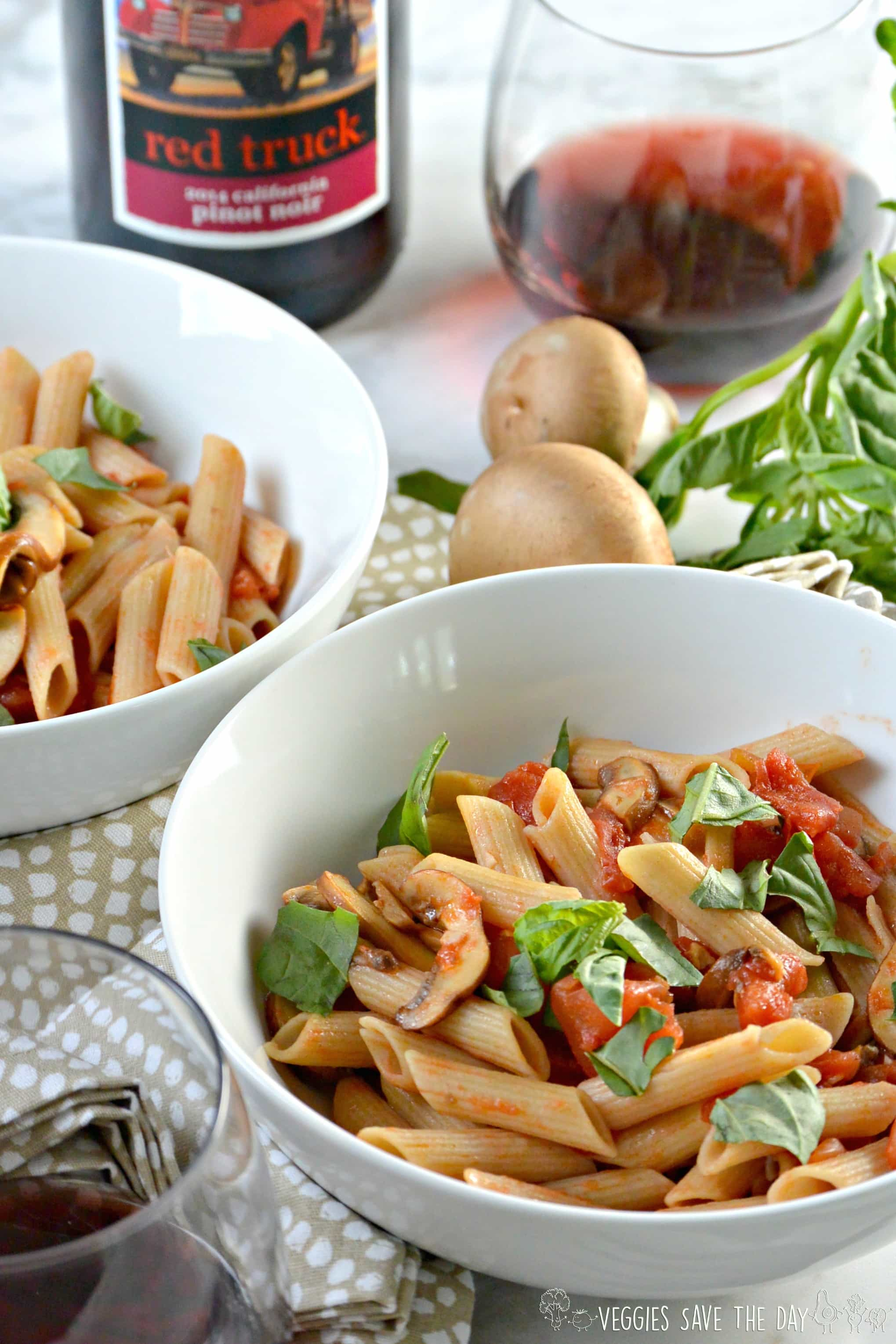 red truck pinot noir wine penne with tomato and basil